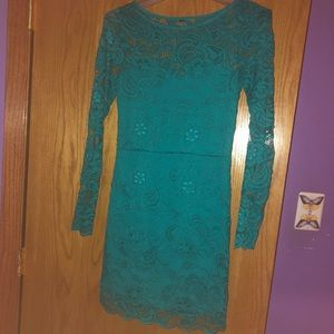 Teal/Green Lace Fitted Dress